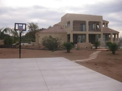 Backyard with Basket Ball Court
