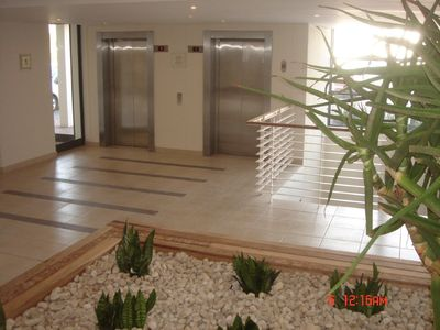 Constantia Valley apartment rental - FRONT ENTRANCE AND ELEVATORS