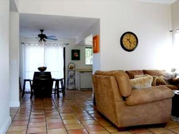 Santa Ynez house rental - Living and Dining Area with Gleaming Saltillo Tiles