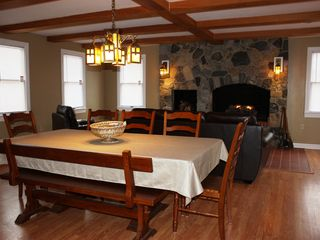 Harpers Ferry house photo - Great room with massive stone fireplace and gas fire logs