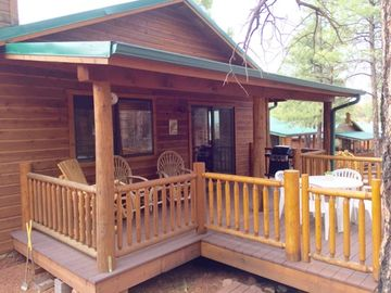 Show Low cabin rental - Gated balcony and fenced back yard.