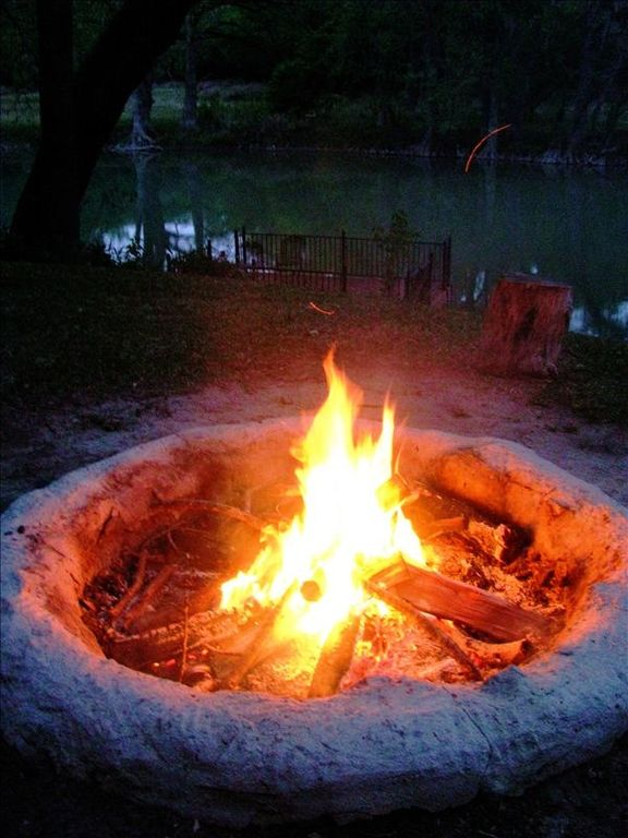 Bonfire pit for roasting marshmallows and staying warm on cool nights.