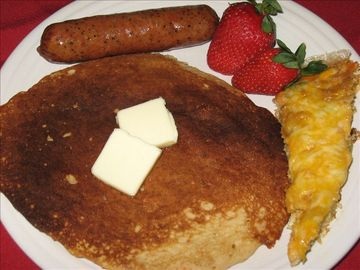 Sweet potato pancakes, Eggs Luckenbach, and German breakfast sausage...mmmm!