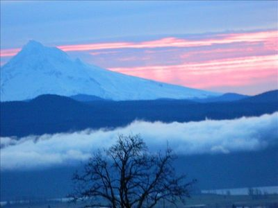 Beautiful morning as the sun rises over Mt. Hood, visible from inside your suite