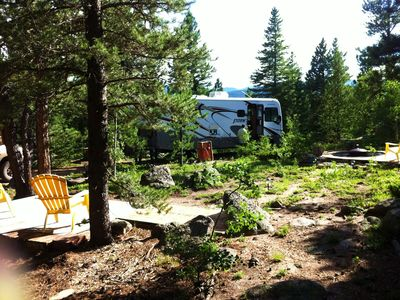 Campsite- available for certain guest parties. Hook ups, decks & Fire pit.