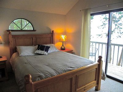 Master bedroom with deck overlooking Skagit Bay, Whidbey Island, Hope Island
