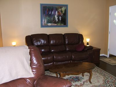 Living room - all leather and wood