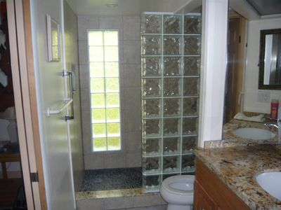 Bathroom vanity and shower