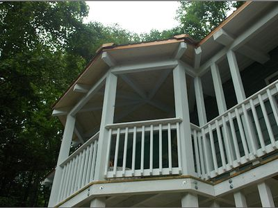 Relax with a cup of coffee in your 2-story gazebo with a stream & mountain
