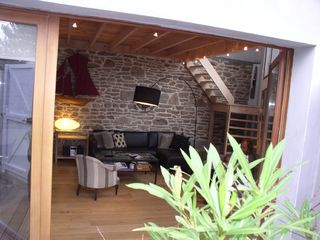St-Pierre-Quiberon cottage rental - Sitting area in the modern extension
