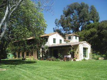 Montecito chateau / country house rental - Nearly an acre of landscaped grounds surround the house (side view)