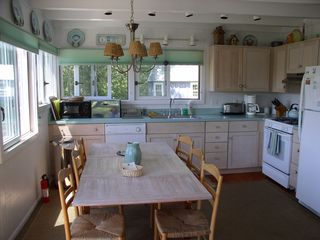 Chilmark house photo - looking toward the bright and fully-equipped kitchen, see bike shed outside