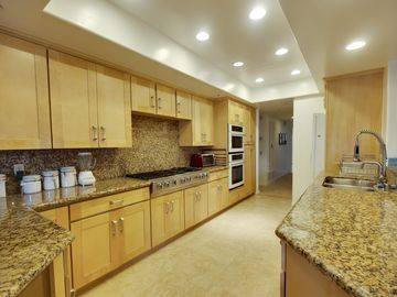 gourmet kitchen with travertine and granite