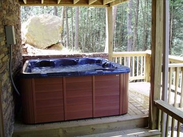 Your Cares Will Melt Away in the Relaxing Hot Tub after Hiking Area Trails.