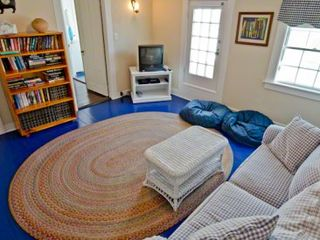 Edgartown house photo - TV/Family Room Has Sofa, TV & Half Bath With Sink Only. Second Floor
