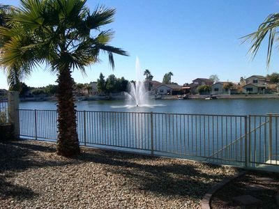 Glendale house rental - Beautiful Backyard View of Sunset Lake and Fountain.