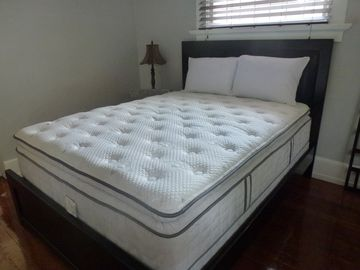Bed has high-end mattress, expensive but very comfy.