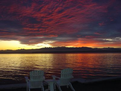 Greenbank estate rental - Sunsets year-round over the Olympic Mountains