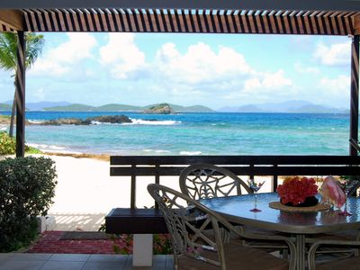 Spectacular views towards BVI's from private terrace directly on beach...