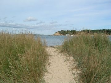 Path to private beach with views of Strong Island