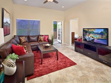 Oro Valley condo rental - Spacious living room with HD TV & Sleeper sofa.