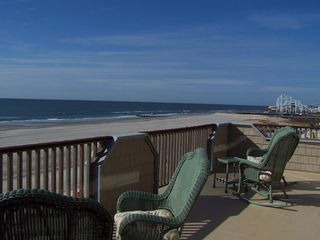 North Wildwood condo photo - Upper Level Deck Accessed From Master & Queen Bedrooms; Roller Coaster Beyond
