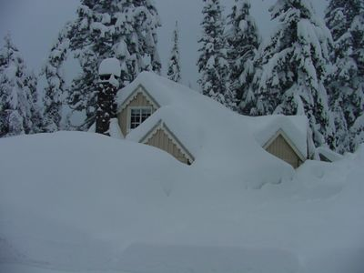 View of cabin across the street, late winter.