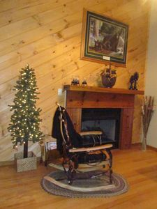 Amish rocker by the gas log fireplace . . .
