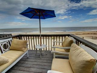 Tybee Island condo photo - Private deck right on the beach. Such comfortable seating, too.