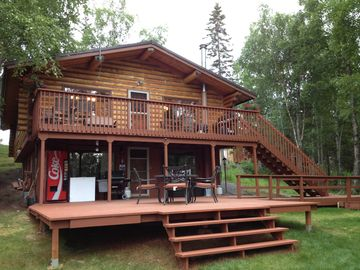 Soldotna lodge rental - King Salmon Log Home with large new deck