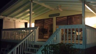 Rear porch at night