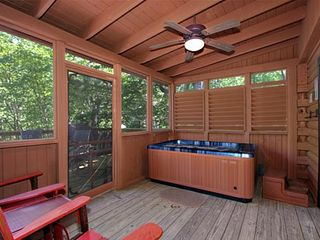 Pigeon Forge cabin photo - Melt the stresses away in the new hot tub in the screened in porch. Enjoy!!