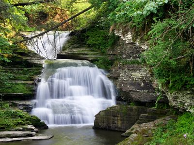 a local waterfalls, another great reason to come to the Finger Lakes