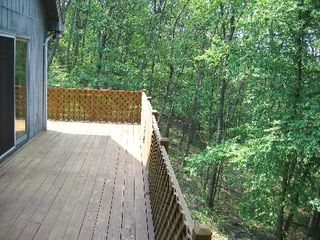 Bushkill house photo - Rear deck overlooking the mountainside and creek!
