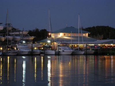 View of Pilot House Marina, Restaurant and Tiki Bar from houseboat's roof deck