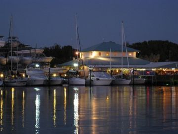 Key Largo house boat rental - View of Pilot House Marina, Restaurant and Tiki Bar from houseboat's roof deck