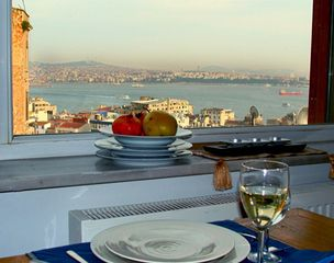 Istanbul apartment photo - View across Bosphorus to Asia from salon/bdrm suite
