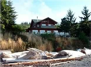 Galiano Island chateau / country house rental - View of the house from the private beach