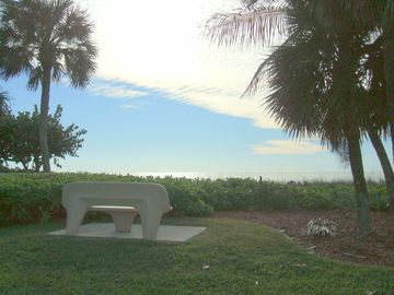 Loudermilk Beach Park bench for your view of the world's greatest sunsets