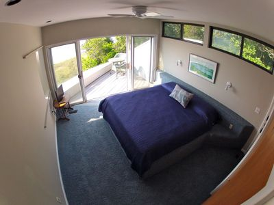 Upstairs master bedroom with private deck and full view of the Great Peconic Bay