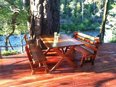 Redwood Deck Over The Smith River. River Otters frequent this area.