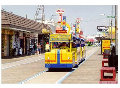 The tram car on the Boardwalk
