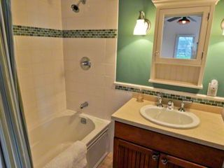 Oak Bluffs cottage photo - Master Bath Features Coastal Colors With Tub/Shower