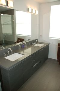 Double Vanity Bath Off Bogart Room.  Large Shower to the Right