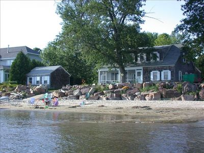 Beachside House and Cabin (1 br/1bath Cabin on left) :view from lake;no undertow
