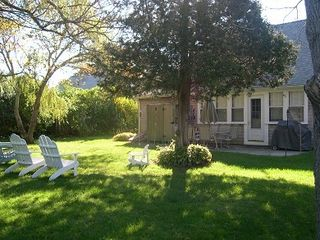 Hyannis - Hyannisport house photo - Private, spacious, shady backyard: patio, tables c