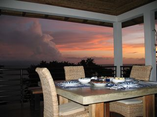 San Juan del Sur villa photo - sunset dinner upstairs lanai
