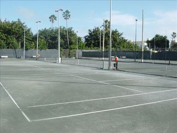 You can play Tennis right across the street at the Flamingo park