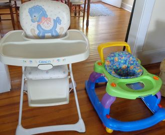 Highchair and bouncy/walker. No baby bed available.