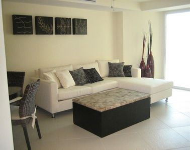 Spacious living room with  sofa and hide-away full size  bed